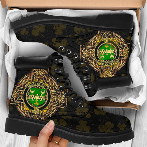 Weld Family Crest Shamrock Gold Cross 6-inch Irish All Season Boots K6
