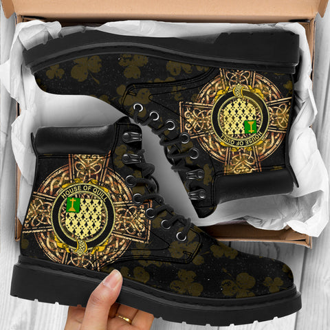 Quill Family Crest Shamrock Gold Cross 6-inch Irish All Season Boots K6