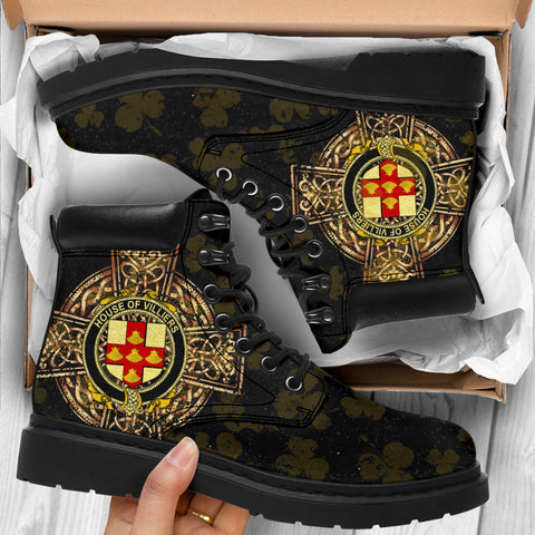 Villiers Family Crest Shamrock Gold Cross 6-inch Irish All Season Boots K6