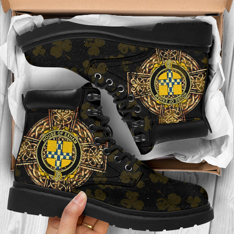 Image of Exham Family Crest Shamrock Gold Cross 6-inch Irish All Season Boots K6