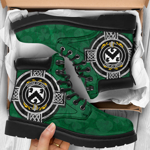 Irish All Season Boots, Hall or MacHall Family Crest Shamrock 6-inch Boots