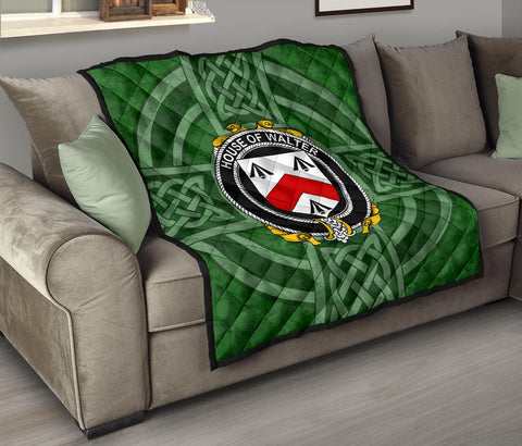 Image of Walsh Family Crest Shamrock Premium Quilt TH8
