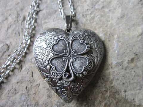Silver Irish Shamrock Heart Lockets - Great Quality - Four Leaf Clover - St. Patrick's Day - Photos, Stash, Keepsakes, Unique TH7