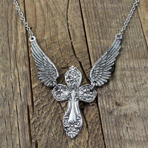 Winged Cross Necklace - Inspired by Antique Victorian Silverware - Handmade Jewelry - Replica Ornate Pewter Cross Necklace TH7