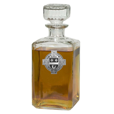 Irish Burns Family Crest Coat Of Arms Quare Decanter
