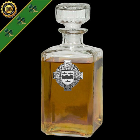 Irish McCabe Family Crest Coat Of Arms Quare Decanter