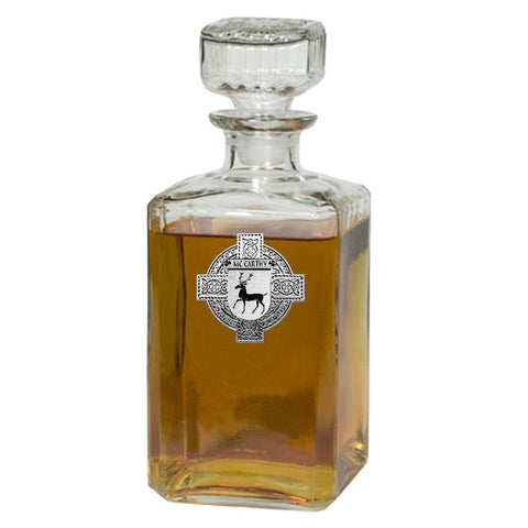 Irish McCarthy Family Crest Coat Of Arms Quare Decanter