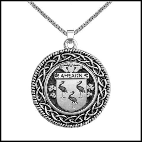 Irish Pendant, Ahearn Family Crest Coat Of Arms Disk Pendant