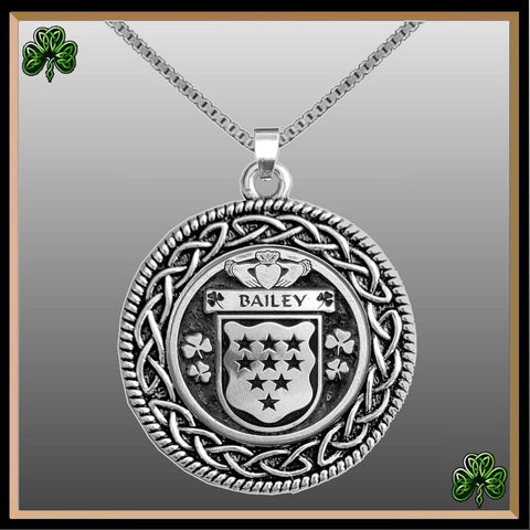 Irish Pendant, Bailey Family Crest Coat Of Arms Disk Pendant