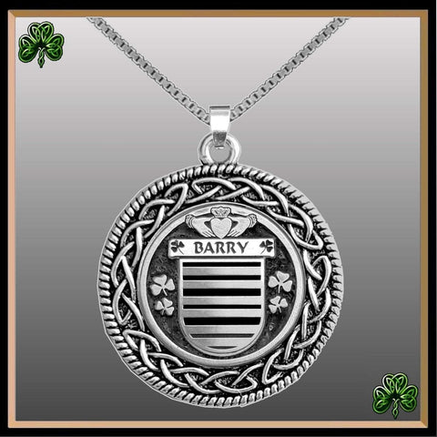 Irish Pendant, Barry Family Crest Coat Of Arms Disk Pendant