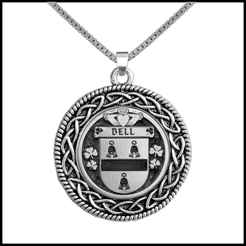 Irish Pendant, Bell Family Crest Coat Of Arms Disk Pendant