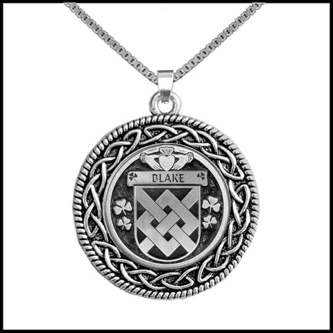 Image of Irish Pendant, Blake Family Crest Coat Of Arms Disk Pendant