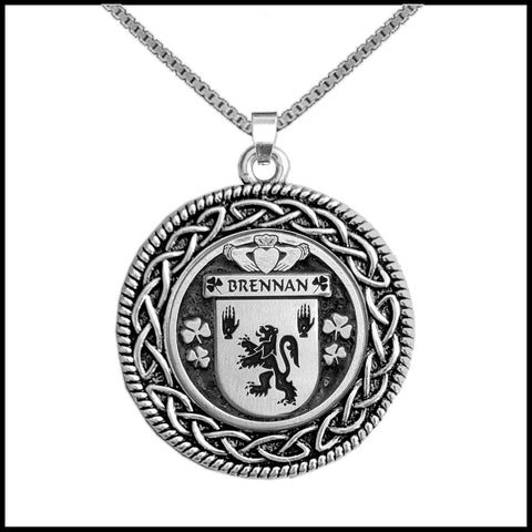Irish Pendant, Brennan Family Crest Coat Of Arms Disk Pendant
