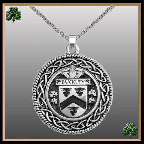 Irish Pendant, Buckley Family Crest Coat Of Arms Disk Pendant