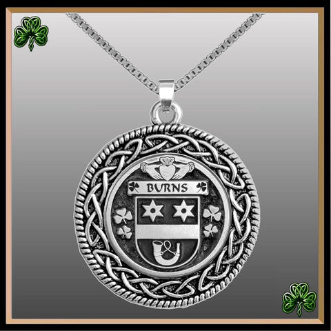 Image of Irish Pendant, Burns Family Crest Coat Of Arms Disk Pendant