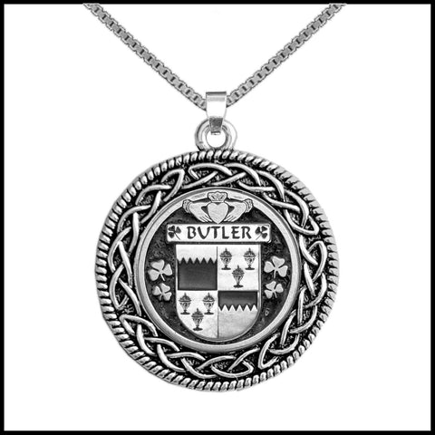Irish Pendant, Butler Family Crest Coat Of Arms Disk Pendant