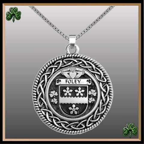 Irish Pendant, Foley Family Crest Coat Of Arms Disk Pendant