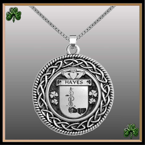 Irish Pendant, Hayes Family Crest Coat Of Arms Disk Pendant