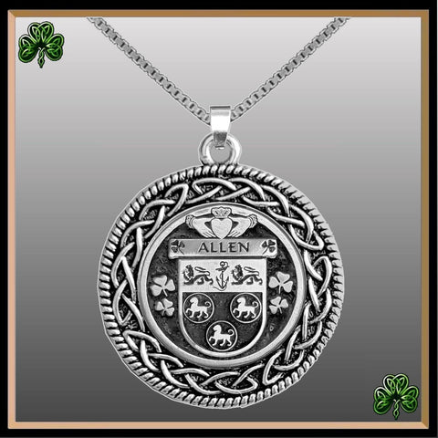 Irish Pendant, Allen Family Crest Coat Of Arms Disk Pendant