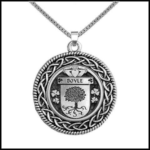 Image of Irish Pendant, Boyle Family Crest Coat Of Arms Disk Pendant