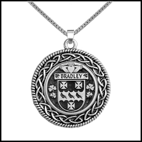 Image of Irish Pendant, Bradley Family Crest Coat Of Arms Disk Pendant
