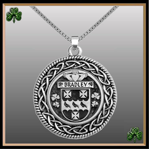 Irish Pendant, Bradley Family Crest Coat Of Arms Disk Pendant