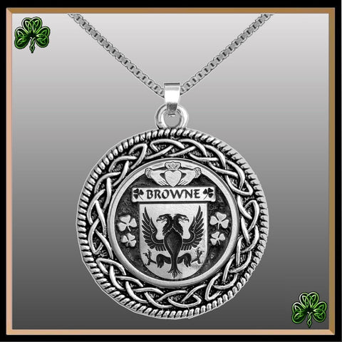 Image of Irish Pendant, Browne Family Crest Coat Of Arms Disk Pendant