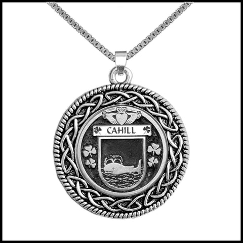 Irish Pendant, Cahill Family Crest Coat Of Arms Disk Pendant