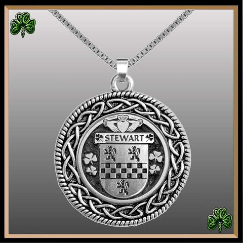 Irish Pendant, Stewart Family Crest Coat Of Arms Disk Pendant