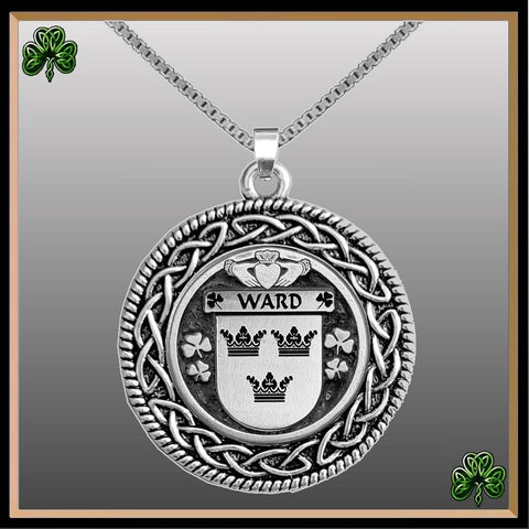 Irish Pendant, Ward Family Crest Coat Of Arms Disk Pendant