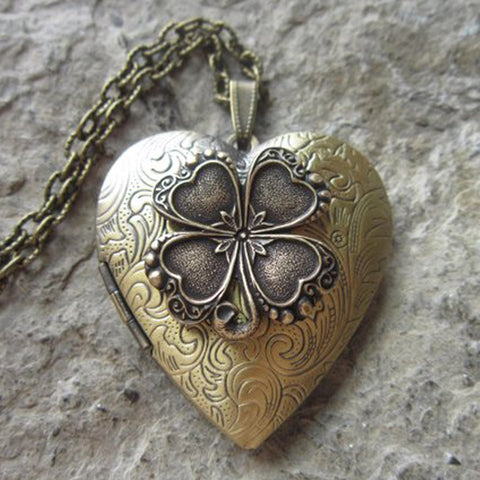 Bronze Irish Shamrock Heart Lockets - Great Quality - Four Leaf Clover - St. Patrick's Day - Photos, Stash, Keepsakes, Unique TH7