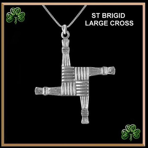 St. Brigid Large Cross, Irish Pendant - Sterling Silver TH7