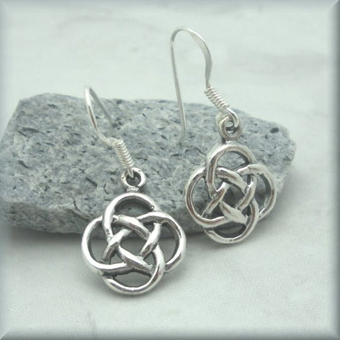 Image of Celtic Eternal Knot Earrings, Irish Jewelry, Sterling Silver, Irish Earrings, Celtic Knot Jewelry, Celtic Knot Earrings TH7