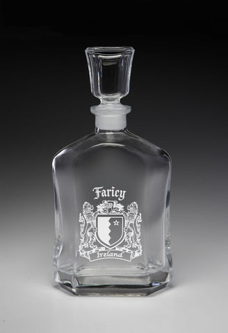 Irish Faricy Family Irish Coat of Arms Whiskey Decanter (Sand Etched) TH5