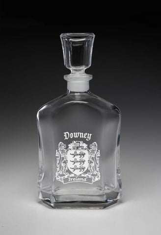 Irish Downey Family Irish Coat of Arms Whiskey Decanter (Sand Etched) TH5