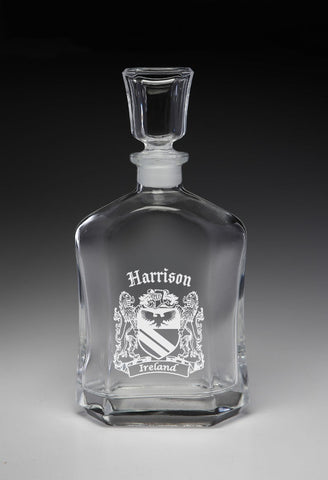 Irish Harrison Family Irish Coat of Arms Whiskey Decanter (Sand Etched) TH5