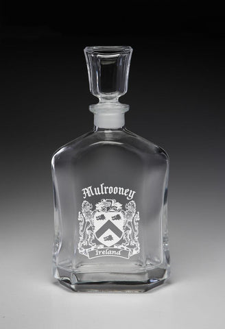 Irish Mulrooney Family Irish Coat of Arms Whiskey Decanter (Sand Etched) TH5