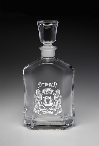Irish Driscoll Family Irish Coat of Arms Whiskey Decanter (Sand Etched) TH5