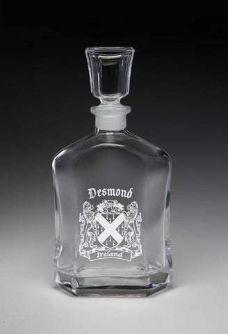 Irish Desmond Family Irish Coat of Arms Whiskey Decanter (Sand Etched) TH5