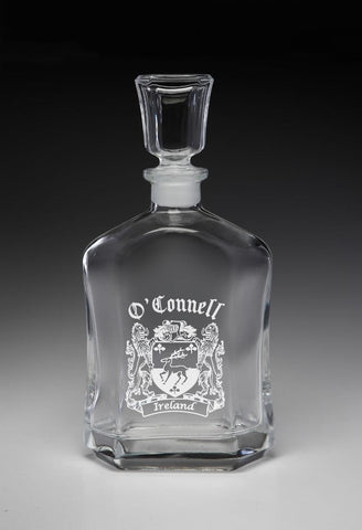 Irish O'Connell Family Irish Coat of Arms Whiskey Decanter (Sand Etched) TH5