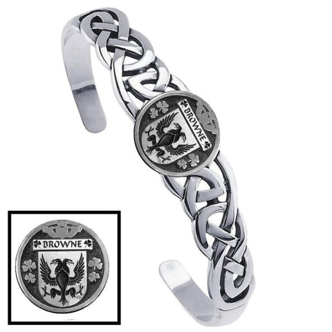 Irish Browne Family Crest Irish Coat of Arms Disk Cuff Bracelet - Sterling Silver TH5