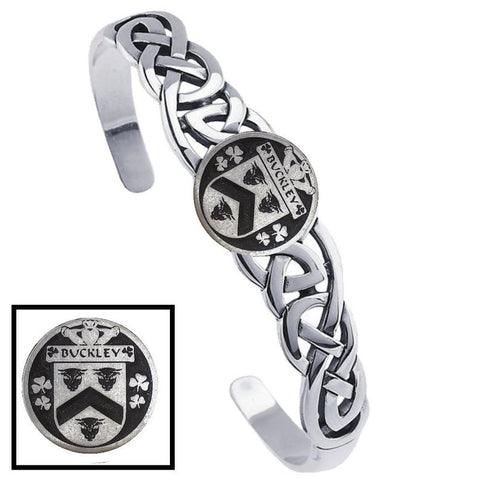 Irish Buckley Family Crest Irish Coat of Arms Disk Cuff Bracelet - Sterling Silver TH5