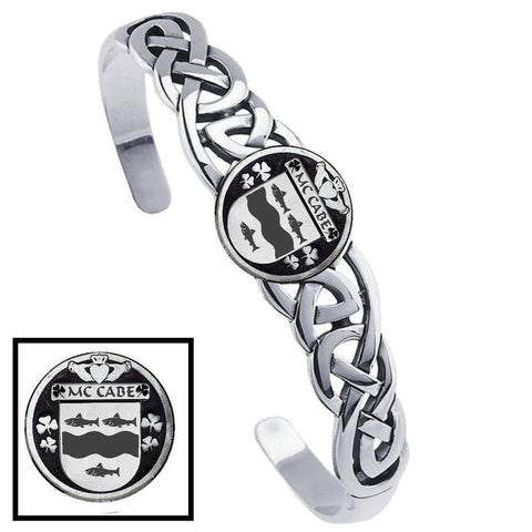 Irish McCabe Family Crest Irish Coat of Arms Disk Cuff Bracelet - Sterling Silver TH5