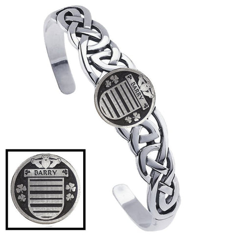 Irish Barry Family Crest Irish Coat of Arms Disk Cuff Bracelet - Sterling Silver TH5