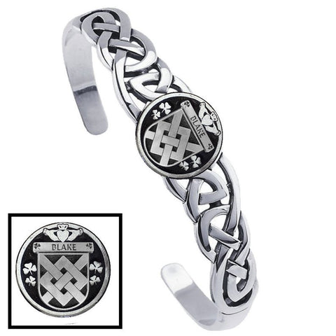 Irish Blake Family Crest Irish Coat of Arms Disk Cuff Bracelet - Sterling Silver TH5