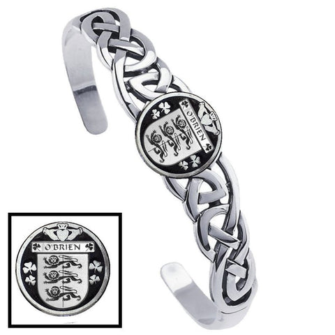 Irish O'Brien Family Crest Irish Coat of Arms Disk Cuff Bracelet - Sterling Silver TH5