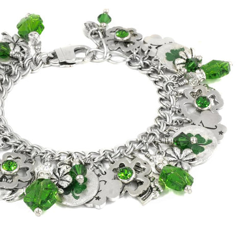 Image of Irish Charm Bracelet, Shamrock Jewelry, Emerald Lucky Charms, Good Luck, Pot of Gold, Engraved Shamrocks TH5