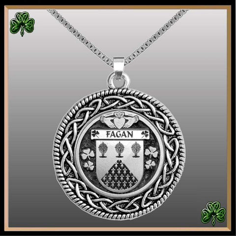 Irish Pendant, Fagan Family Crest Coat Of Arms Disk Pendant