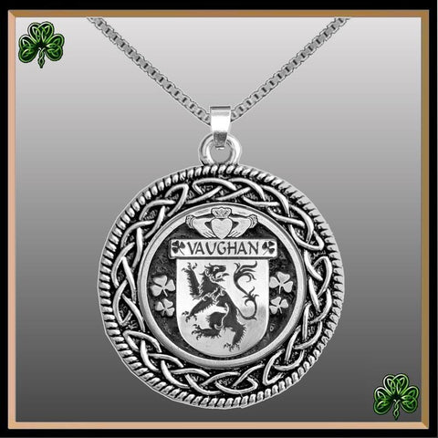 Irish Pendant, Vaughan Family Crest Coat Of Arms Disk Pendant