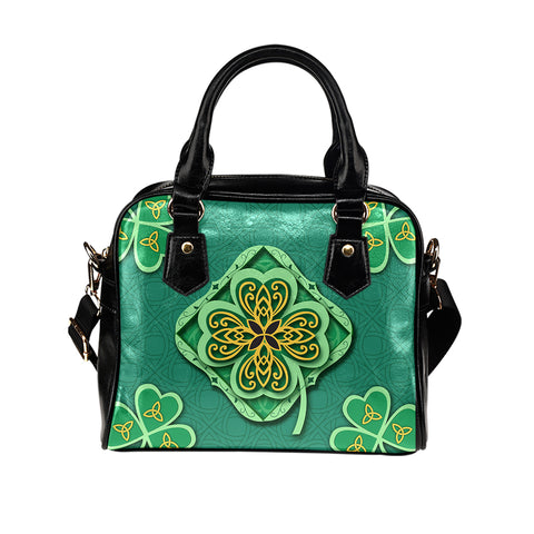 Irish Shamrock Shoulder Handbag - Green Color - For Woman